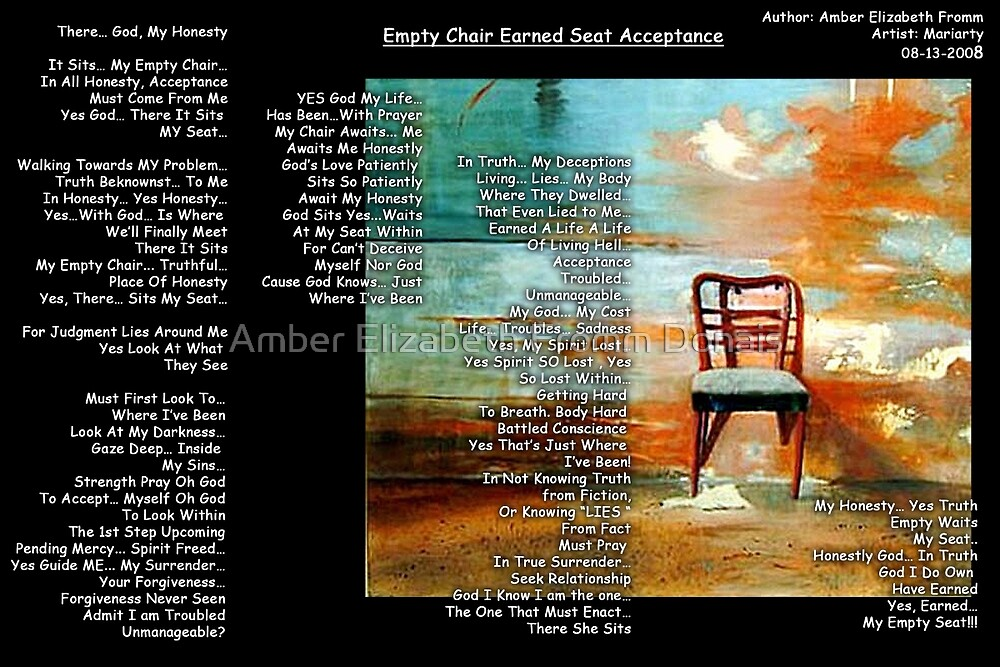 Empty Chair Earned Seat Acceptance by Amber Elizabeth Fromm Donais