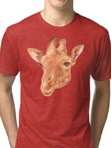head of Giraffe. watercolor Tri-blend T-Shirt