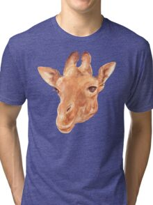 head of Giraffe. watercolor Tri-blend T-Shirt