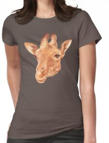 head of Giraffe. watercolor Womens Fitted T-Shirt