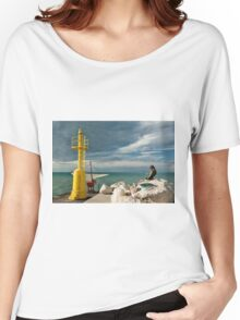 The pier in Senigallia at sunset. Women's Relaxed Fit T-Shirt