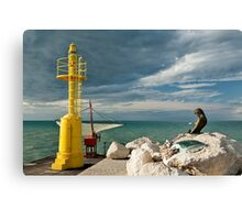 The pier in Senigallia at sunset. Canvas Print