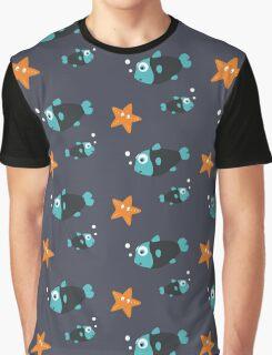 Blue fish and starfish   Graphic T-Shirt