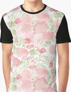 watercolor flowers pale pink Graphic T-Shirt