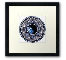 Tardis in space mandala Framed Print