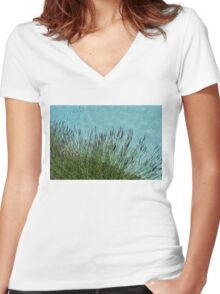 Summer Aromatherapy at the Fragrant Edge of the Swimming Pool Women's Fitted V-Neck T-Shirt