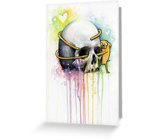 Jake the Dog Holding Skull Adventure Watercolor Art Greeting Card