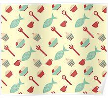 Food seamless pattern Poster