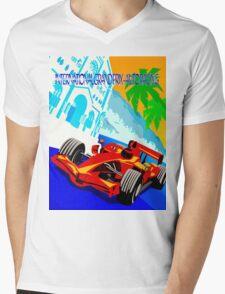 """INTERNATIONAL GRAND PRIX"" Auto Racing Print Mens V-Neck T-Shirt"