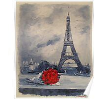 A bouquet of red roses for a Parisian woman Poster