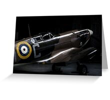 RAF Spitfire in the Hanger Greeting Card