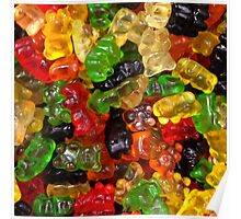 cute colorful sweet candy gummy bear  Poster