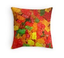 colorful sweet tooth foodie candy gummy bear  Throw Pillow