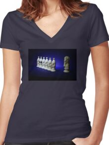 Chess Pieces - (dare to be different) Women's Fitted V-Neck T-Shirt
