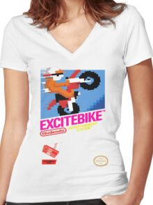 NES Excitebike Transparent  Women's Fitted V-Neck T-Shirt
