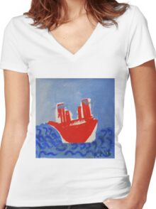 red boat Women's Fitted V-Neck T-Shirt