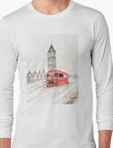 London red bus painting  Long Sleeve T-Shirt