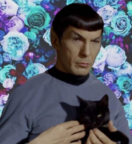 Floral Spock and Cat Sticker