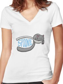 Spoonie Cat Women's Fitted V-Neck T-Shirt