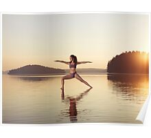 Woman practicing yoga on the water Veerabhadrasana warrior pose art photo print Poster