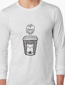 doodle coffee cat Long Sleeve T-Shirt
