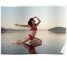 Woman practicing yoga on platform in the water doing Pigeon pose variation art photo print Poster