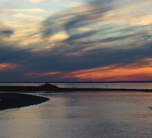 Sunset and the Kayak (Panorama) by Gilda Axelrod