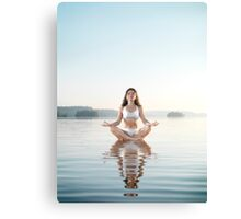Woman practicing morning sunrise meditation on the water art photo print Canvas Print
