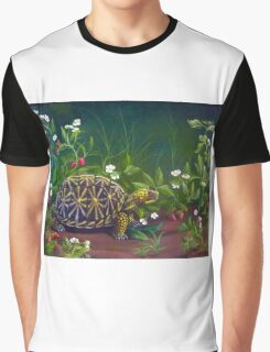 Florida Box Turtle, Strawberries and Blooms Graphic T-Shirt
