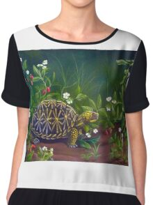 Florida Box Turtle, Strawberries and Blooms Chiffon Top