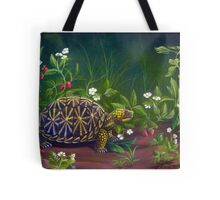 Florida Box Turtle, Strawberries and Blooms Tote Bag