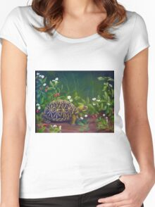 Florida Box Turtle, Strawberries and Blooms Women's Fitted Scoop T-Shirt