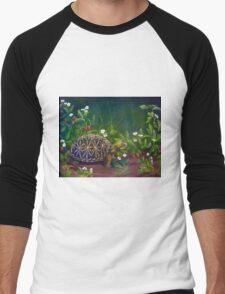 Florida Box Turtle, Strawberries and Blooms Men's Baseball ¾ T-Shirt
