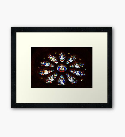 Circular Stained Glass Window At St Michaels Mount Church,Cornwall  Framed Print
