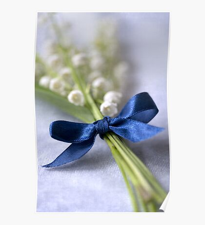 Blue silk ribbon Poster