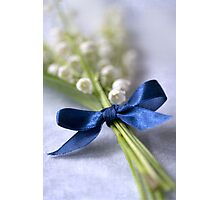 Blue silk ribbon Photographic Print