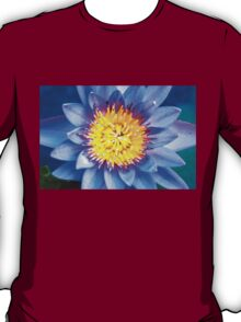 Close-up shot of purple water lily with blue petals T-Shirt