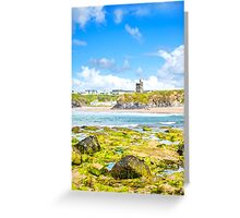 seaweed covered rocks with castle Greeting Card