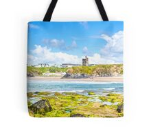 seaweed covered rocks with castle Tote Bag