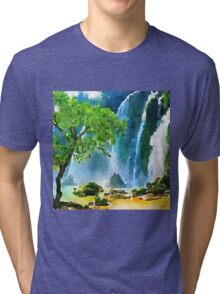 Beautiful,water color,hand painted,land scape,waterfall,tree,nature Tri-blend T-Shirt