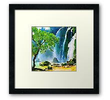 Beautiful,water color,hand painted,land scape,waterfall,tree,nature Framed Print