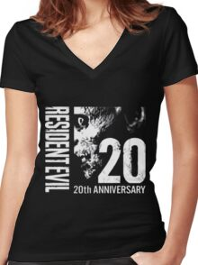 Resident Evil - 20th Anniversary With Anniversary Text Women's Fitted V-Neck T-Shirt