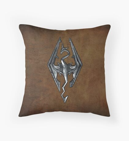 Skyrim Worn Leather Symbol Throw Pillow