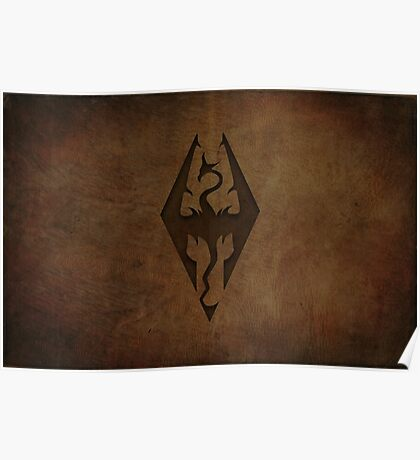 Skyrim Worn Leather Emboss Poster