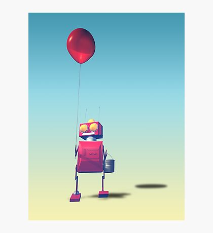 Little Red Birthday Robot 3 Photographic Print