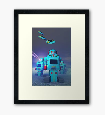 Toy Robos on the Attack Framed Print