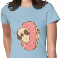 Pug Loves Donut Womens Fitted T-Shirt