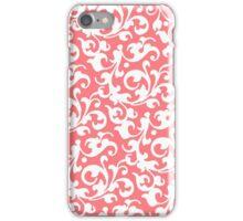 Pretty Coral Damask iPhone Case/Skin