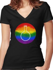 Rainbow Round Flask Women's Fitted V-Neck T-Shirt