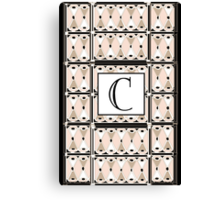 1920s Pink Champagne Gatsby Monogram letter C Canvas Print